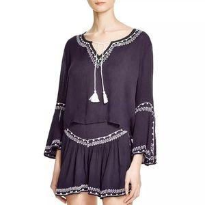 Band of Gypsies Boho Embroidered Keyhole Top M